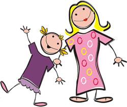 Strichmännchenzeichnung zum Muttertag